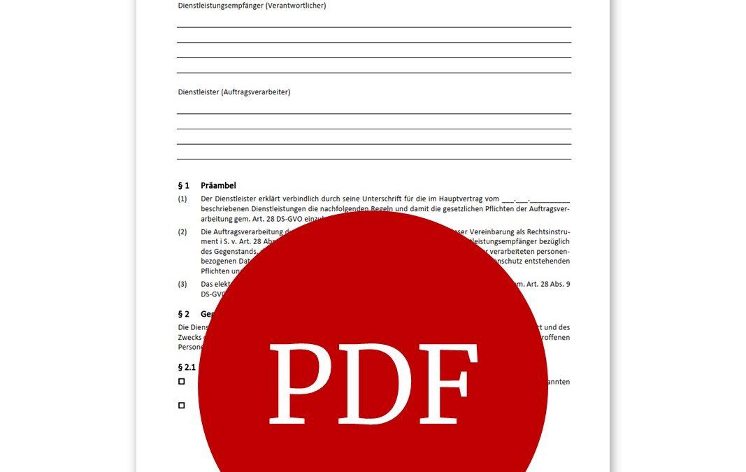Vorlage für Auftragsverarbeitungsvertrag
